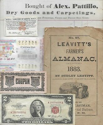 HUGE World Paper Document Lot: 71 items w/22 banknotes