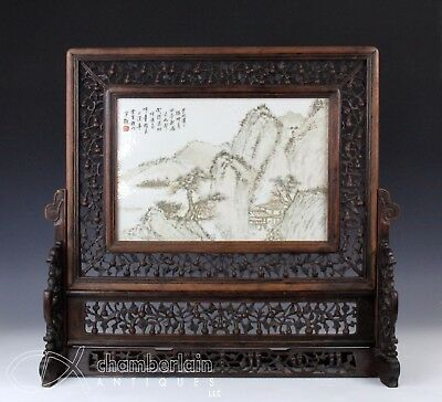 Large Old Chinese Porcelain Tile Plaque In Carved Wood Stand