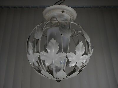Vtg Floral Tole Ware Shabby Lamp Flowers Hanging Light Toleware Ceiling Mount (3