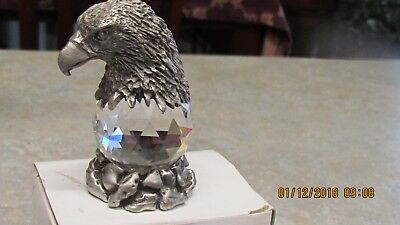 "Comstock Eagle head pewter on faceted crystal ball 2 1/4"" tall"