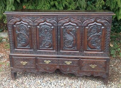 18/19th C. CARVED OAK COFFER. DOLPHINS. CUPBOARD . DRAWERS. OLD CONVERSION