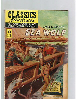 CLASSICS ILLUSTRATED COMIC No. 34 Sea Wolf 1/3 HRN 126 BUT!