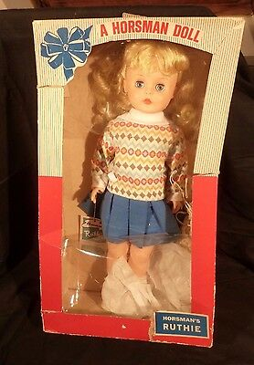 "Vintage 1960's HORSMAN Ruthie Doll PLATINUM BLONDE 15"" BIG Cheerleader NEW & BOX"