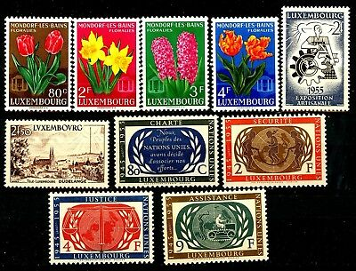 Luxembourg Issues of 1955 Complete Set of 10 MNH Scott's 300 to 309
