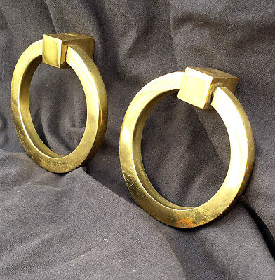 5 Pair avail Vintage SOLID Brass Drawer Cabinet Furniture Ring Pull Drop Handle