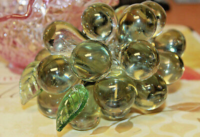 Vintage MURANO Italy PALE GREEN Grapes Hand Blown Italian Glass Fruit on Wire