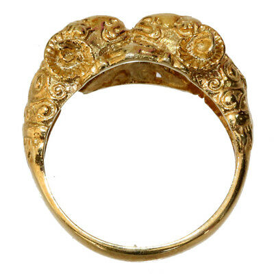 Scarce Late Medieval Solid Cold 22 Carats Greek Ring With Rams Heads