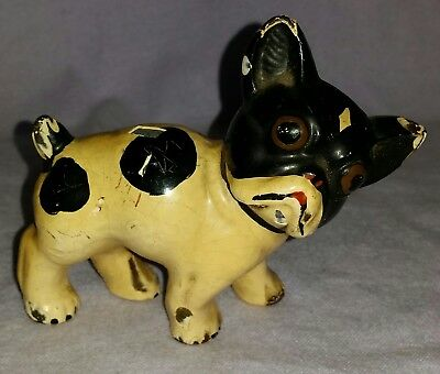 Antique Ca 1905 Hubley Cast Iron French Bull Dog Toy