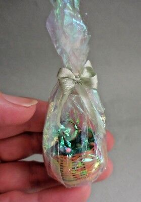 Dollhouse Miniature ~ Easter ~ Cellophane Wrapped Wicker Easter Basket