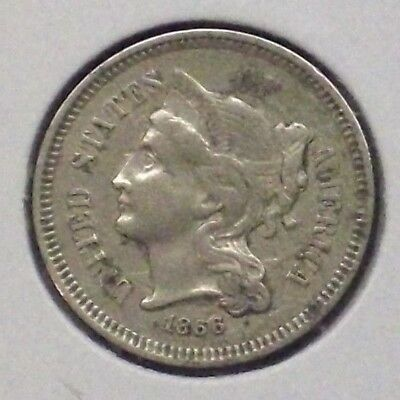 1866 Three Cent Nickel Piece! In Xf Condition!