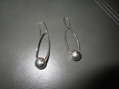 Gorgeous Sterling Silver Paola Valentini Italy Long  3 Inch Drop Earrings