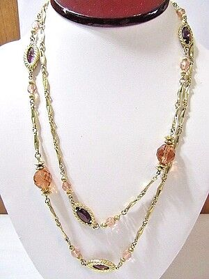 Pink And Purple Jewel Tone Long Chain Necklace Designer 1928 Vintage Pretty
