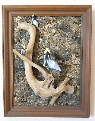 Vtg 3 HAND CARVED & PAINTED PELICANS - DRIFTWOOD w BARK BACK FRAMED PICTURE CT6T