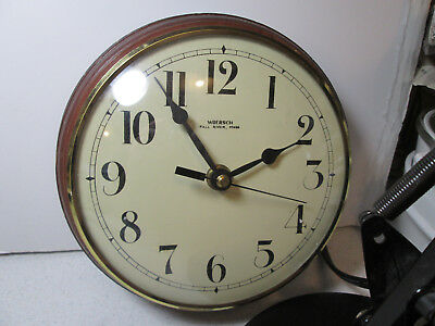 Vintage Wuersch Domed Glass Wall Clock made in Fall River, Mass NOT WORKING