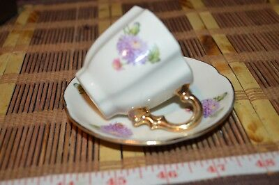 Porcelain Small Cup and Saucer Purple Floral