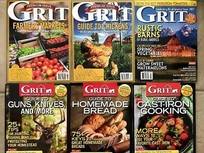 Lot Of 6 Grit 2017 Magazines Cast Iron Cooking Homemade Bread Rustic Barns +