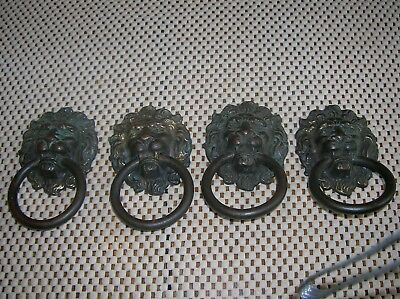 ANTIQUE Vintage * BRASS LION HEAD * DRAWER PULLs * VERY OLD set of 4