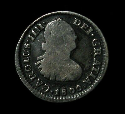 1800 Mexico 1/2 Real silver coin Charles IIII (IV) Mo FM