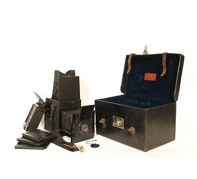 c. 1915 Marion Soho Reflex Camera Outfit w/Original Case, Plate Holders, More