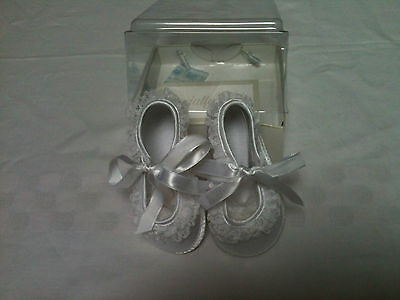 Specialty Baby / Baby Deer Satin and Lace Crib/Christening Shoes Sizes 0,3