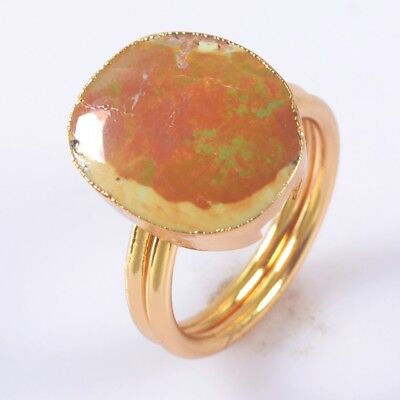 Size 7.25 Natural Genuine Turquoise Ring Gold Plated T052341