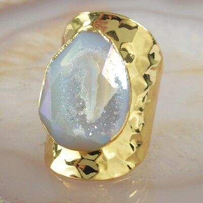 Size 6.5 Natural Agate Druzy Titanium AB FRing Gold Plated T052361