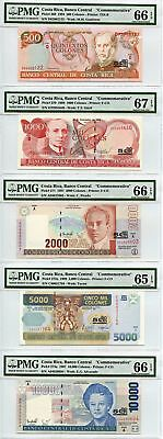Costa Rica: Lot of Commemorative Colones PMG 65-67 EPQ (5 Notes) -