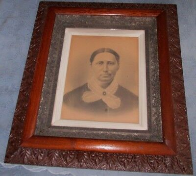 Large Ornate Antique Oak Aesthetic Victorian Picture Frame & Portrait, 16 by 20