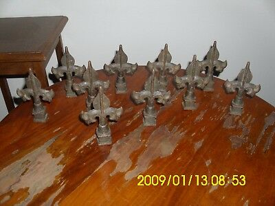 "10 lot Cast Iron Fence Post Toppers Finials Fleur De Lis Spears 4 3/4""  x  2 3/4"