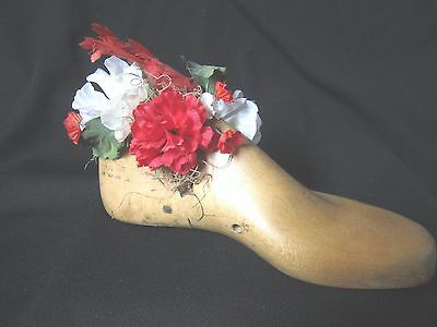 Antique Hand Decorated Wooden Shoe Maker Form * Red & White Flower & Cardinal