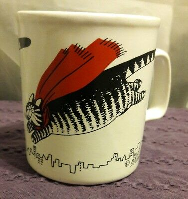 Kliban Flying Super Cat Mug Made in England by Kiln Craft