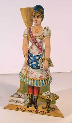 1883 GOODWIN & Co WELCOME CIGARETTES DIE CUT LADY LIBERTY ADVERTISING SIGN