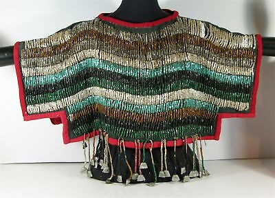 ca1900 NATIVE AMERICAN ASSINIBOINE INDIAN BEAD DECORATED WOMANS DANCE CAPE SHAWL