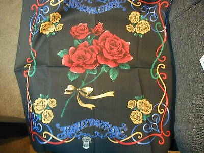 Harley Davidson Bandana Red Rose Center & Yellow Roses in corners  New old stock