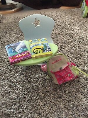 Original American Girl Dolls School Desk With Books And Backpack - Euc