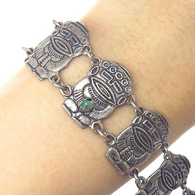 Vtg 900 Silver Real Raw Emerald Tribal Totem Wide Link Bracelet 7""