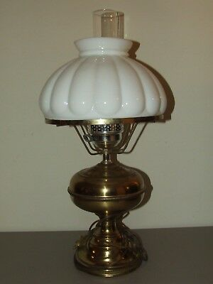 Vintage Working Victorian Electric Oil GWTW Milk Glass Shade Banquet Table Lamp