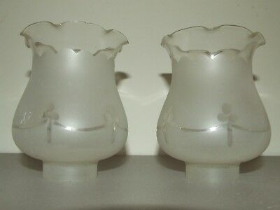 Antique Matching Pair of Frosted Etched Glass Tulip Glass Hurricane Shade Globes