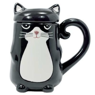 New Handpainted Ceramic Black & White Tux Cat Kitten 16oz Mug Lid  Tail Handle
