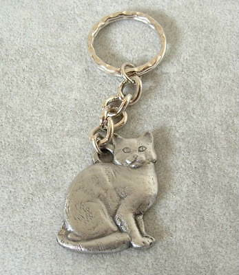 New Vintage 1984 Rawcliffe Pewter I Love My American Shorthair Cat KEYCHAIN