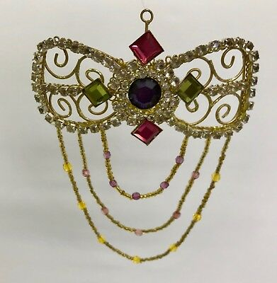 Victorian Rhinestone Bow Christmas Ornament Seed Beads Strands Accent Mardi Gras