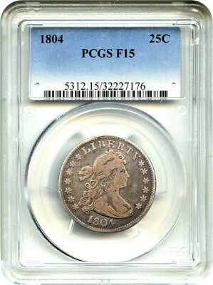 1804 25c PCGS F15 - Key Date Early Draped Bust Quarter - Bust Quarter