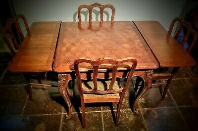 Antique French Oak Parquetry Dining Table and Four Chairs