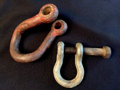 """2 Vintage Rigging Shackles Wire U Hooks Tools 4"""" x 2"""" & 6"""" x 3"""" Curved # 8278"""