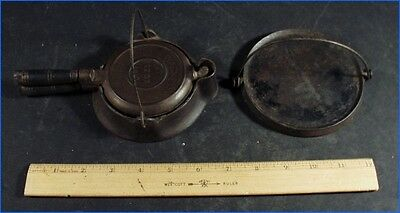"Vintage 1910 Wagner Cast Iron Little Woman Waffle Iron ""just Like Mother Uses"""