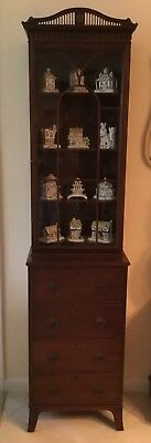 Pair Of Vintage Solid Wood Small China Cabinets