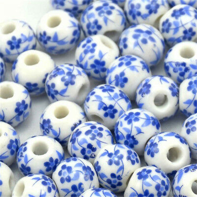 20~100 Elegant Ceramic Round Blue And White Porcelain Beads Jewelry Material 8mm