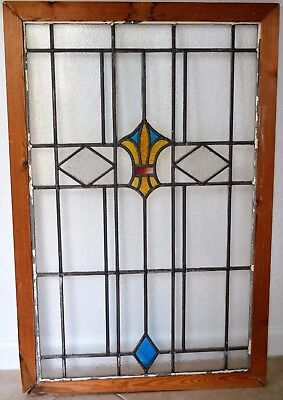 Antique Leaded English Stained Glass Huge Window Wood Frame England Old House 93