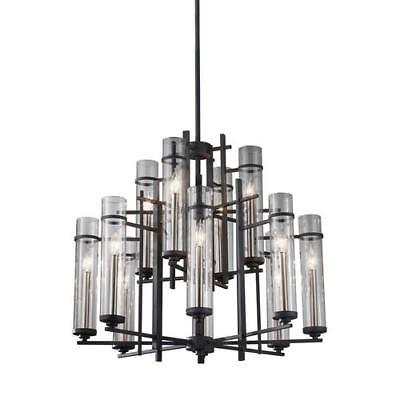 Feiss F2629/8+4AF/BS Ethan Chandelier In Antique Forged Iron / Aged Walnut