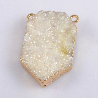 Uneven Natural Agate Druzy Titanium AB Connector Gold Plated B055003